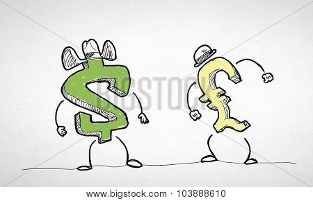 Funny cartoon people with currency signs on white background