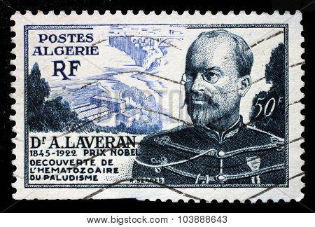 ALGERIA - CIRCA 1953: a stamp printed in the Algeria shows Military Health Service, A. Laveran, circa 1953.