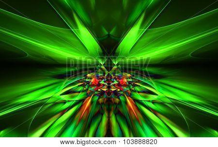 Shining a fantastic green line in a furious motion symmetrically go beyond the horizon. Fractal art