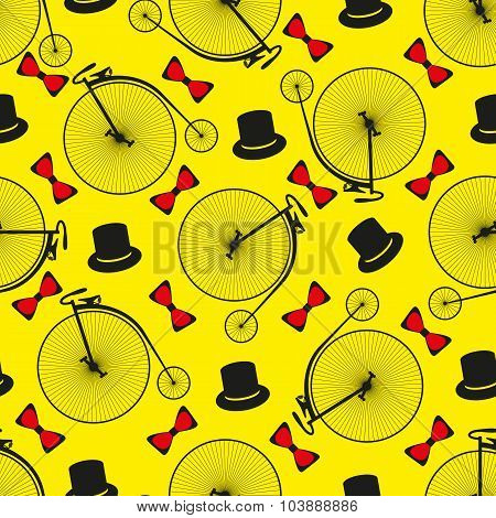 Seamless bicycle pattern.  Penny farting bike. Vector illustration