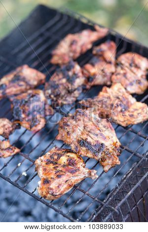 Roasted Barbecue Meat On Charcoals Of Grill