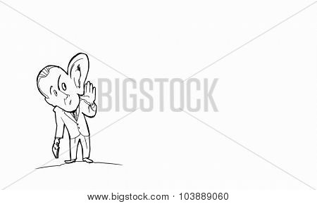 Caricature of funny man with big ear
