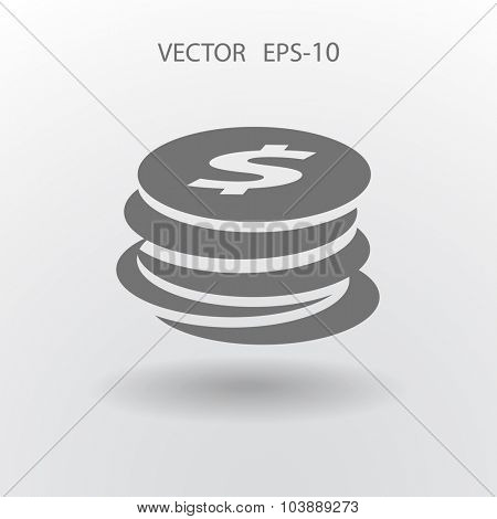 Flat icon of money