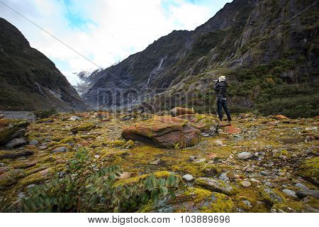 Photographer Take A Photograph In Franz Josef Glacier Trail Important Traveling Destination In South