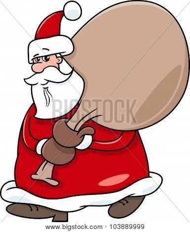 Santa With Sack On Christmas