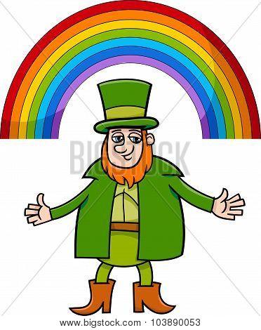 Leprechaun And Rainbow Cartoon