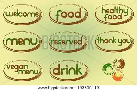 Restaurant menu. Vector set of design elements for the menu: welcome, food, healthy food, menu, rese