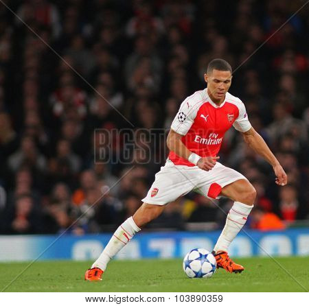LONDON, ENGLAND - SEPTEMBER 29 2015: The UEFA Champions League match between Arsenal and Olympiacos at The Emirates Stadium on September 29, 2015 in London, United Kingdom.