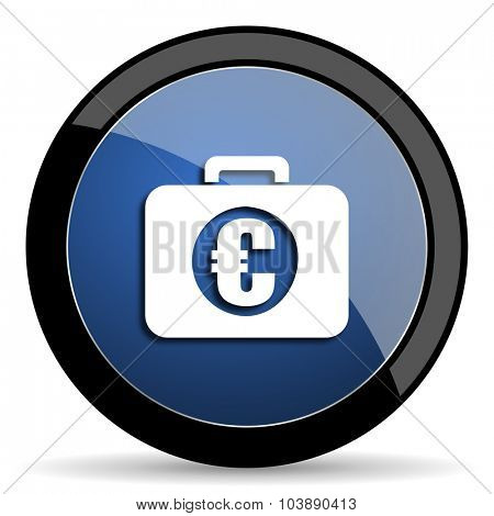 financial blue circle glossy web icon on white background, round button for internet and mobile app
