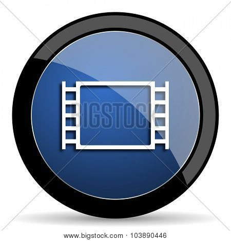movie blue circle glossy web icon on white background, round button for internet and mobile app