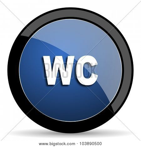 toilet blue circle glossy web icon on white background, round button for internet and mobile app