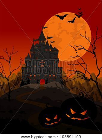 Illustration of spooky haunted kingdom on night background