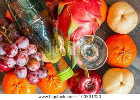 Glass Of Juice Put It To Many Fruits.