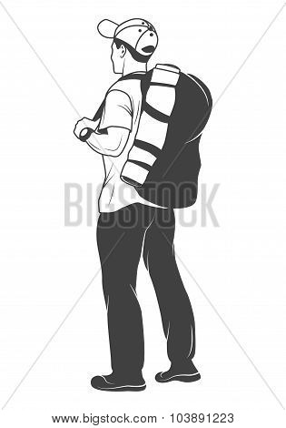 Tourist with a backpack