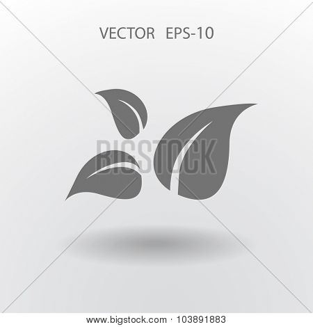 Flat eco leaf icon