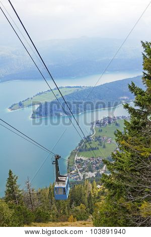 Ropeway Carriage To Herzogstand Mountain, Upper Bavaria