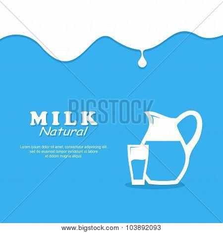 Background Milk. Glass milk and Pitcher.