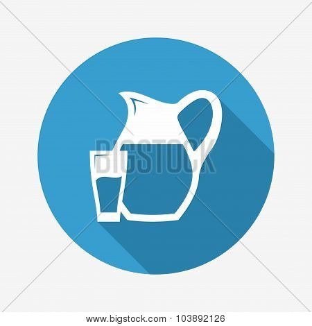 Glass and Pitcher icon. Vector Illustration.