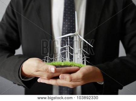 Eco power, wind turbines in the hand