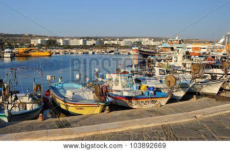 Boats and yachts at anchor in bay fishing
