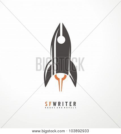 Science fiction writer unique logo design idea