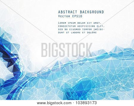 Abstract cold blue vector background. Triangle pattern.