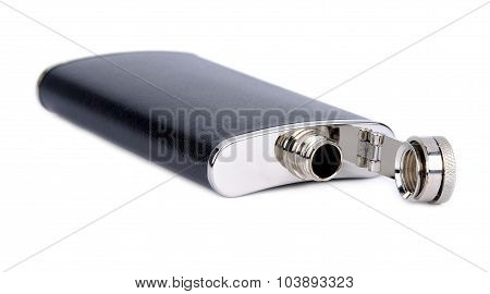 Flask for alcoholic drinks on a white background