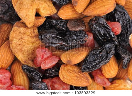 Heap of Mixed Dried Fruits of apples raisins cherries almonds