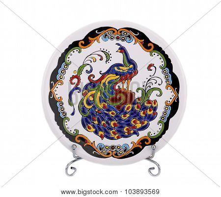 Decorative ceramic saucer with Firebird