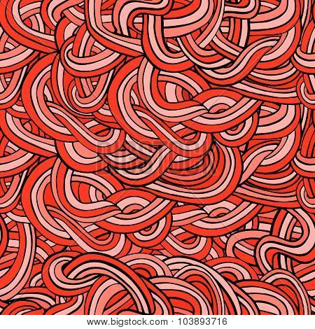 Seamless Abstract Red Waves And Curves Pattern
