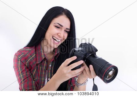 Girl Looking At Camera's Display