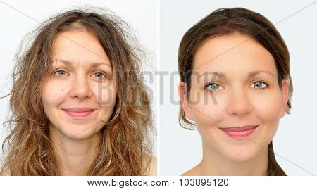 Beautiful woman before and after applying make-up and hairstyling