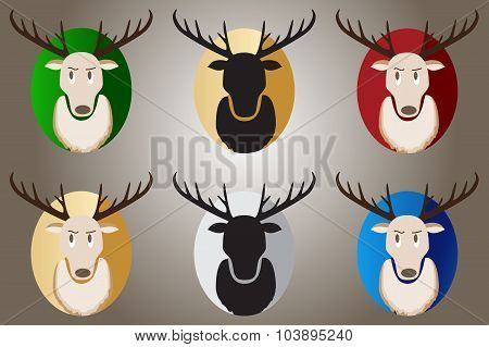 Deer On A Blue, Green, Red, Gold And Black Background.