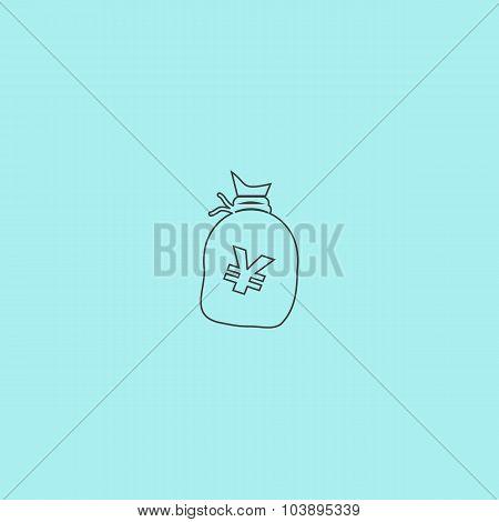 Money bag icon. Yen JPY