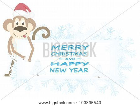 Christmas Background With Snowflakes And Monkey.