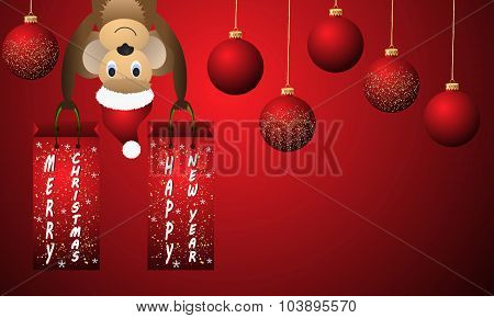 New Year Red Background With Christmas Balls And Monkey.