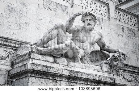 White Man Statue Of Altare Della Patria, Rome