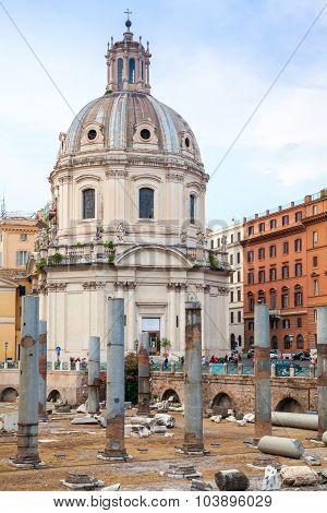 Santa Maria Di Loreto Church In Rome, Italy