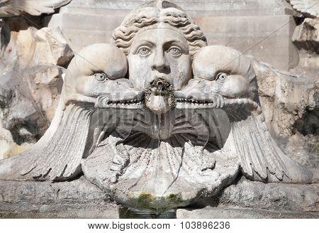 Italy, Rome. Fontana Del Pantheon, Fragment
