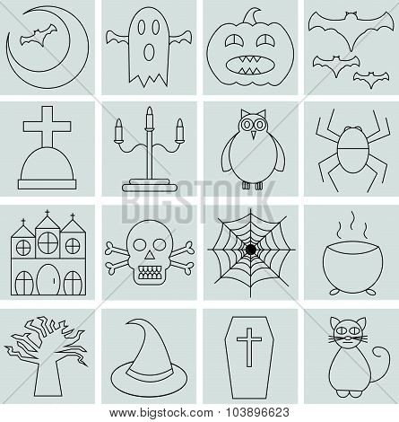 Collection of 16 halloween line  icons.