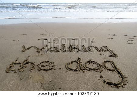 Walking the dog written in the sand