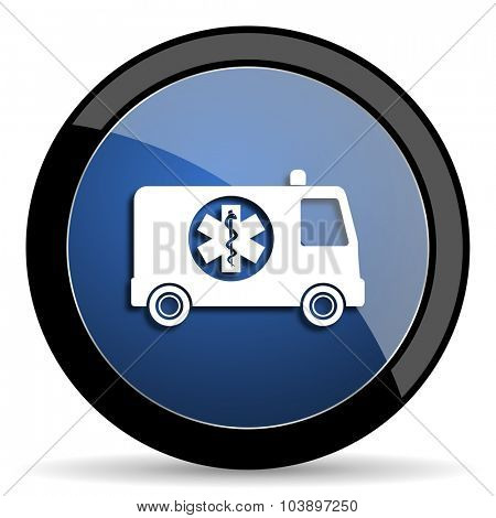 ambulance blue circle glossy web icon on white background, round button for internet and mobile app