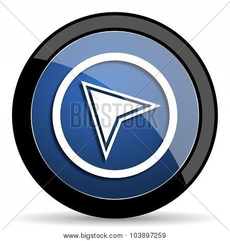 navigation blue circle glossy web icon on white background, round button for internet and mobile app