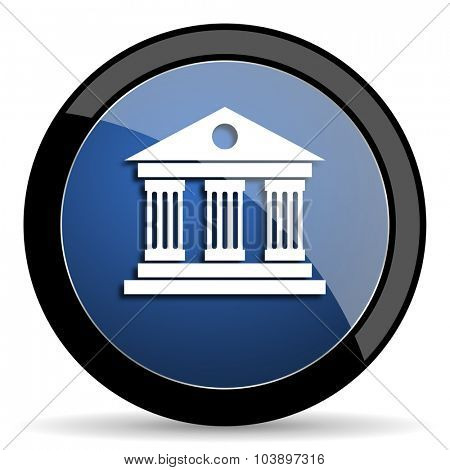 museum blue circle glossy web icon on white background, round button for internet and mobile app