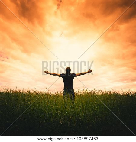 Silhouette of man and sunshine