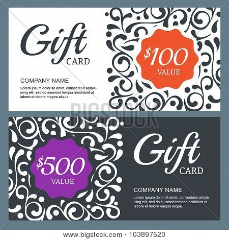 Gift Voucher Card, Vector Template With Floral Background.