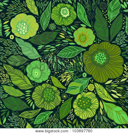 Decorative floral seamless background pattern in bright green colors