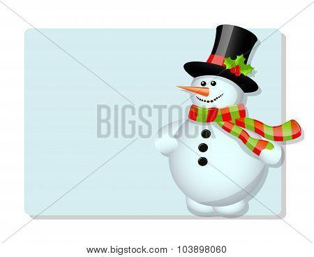 Blue card and snowman
