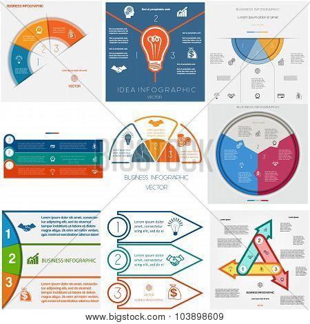Set 9 Templates Infographics Cyclic Processes.three Positions