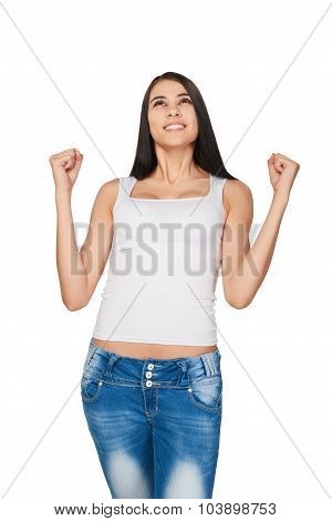 Lucky woman over white background